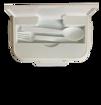 صورة حافظة طعام خضره مقسمة + ملعقة و شوكة